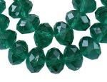Glass Rondelle 10x7mm Pearl Lustre Dark Green